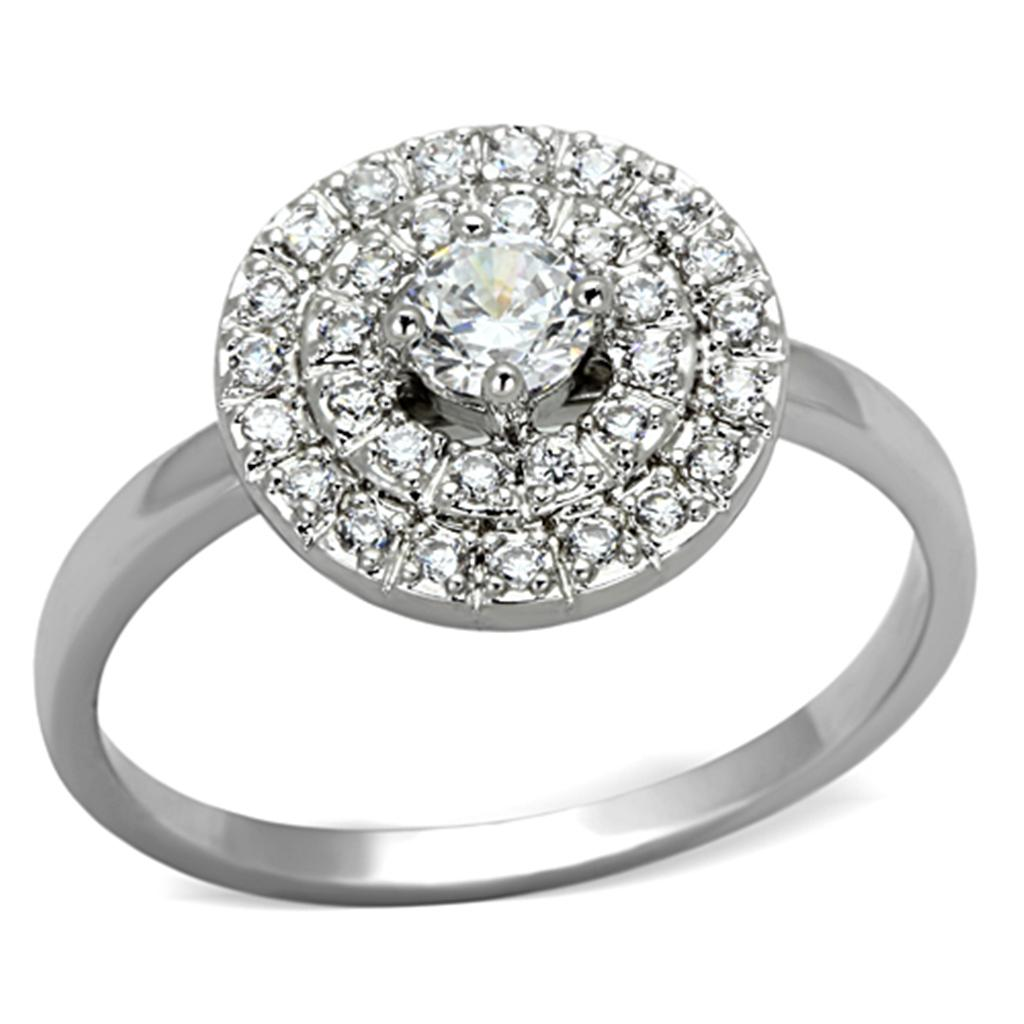 3W493 - Rhodium Brass Ring with AAA Grade CZ  in Clear
