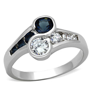 3W494 - Rhodium Brass Ring with Synthetic Synthetic Glass in Sapphire
