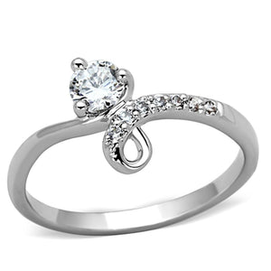 3W497 - Rhodium Brass Ring with AAA Grade CZ  in Clear