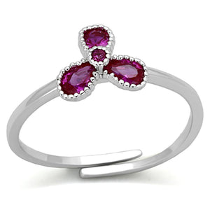 3W521 - Rhodium Brass Ring with Synthetic Corundum in Ruby