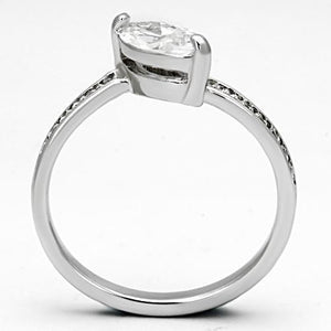3W528 - Rhodium Brass Ring with AAA Grade CZ  in Clear