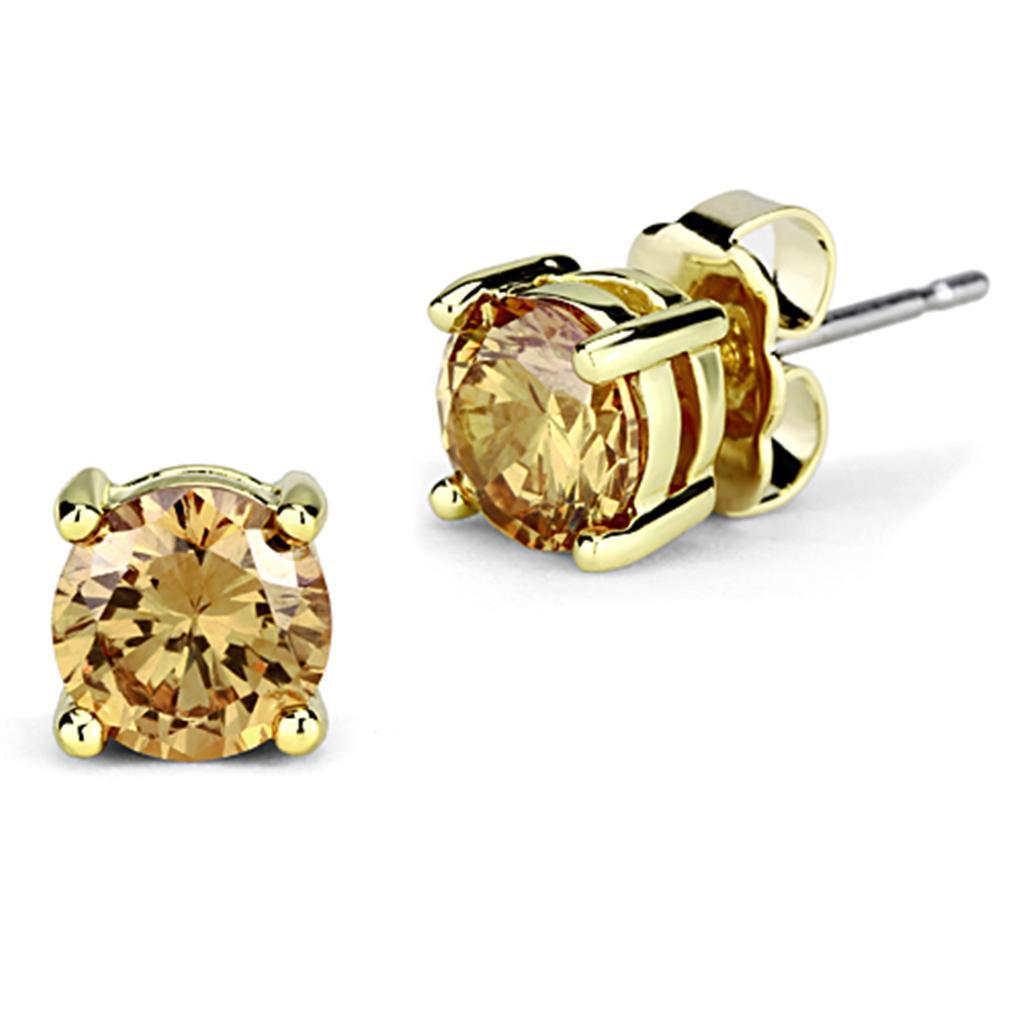 3W554 - Gold Brass Earrings with AAA Grade CZ  in Champagne