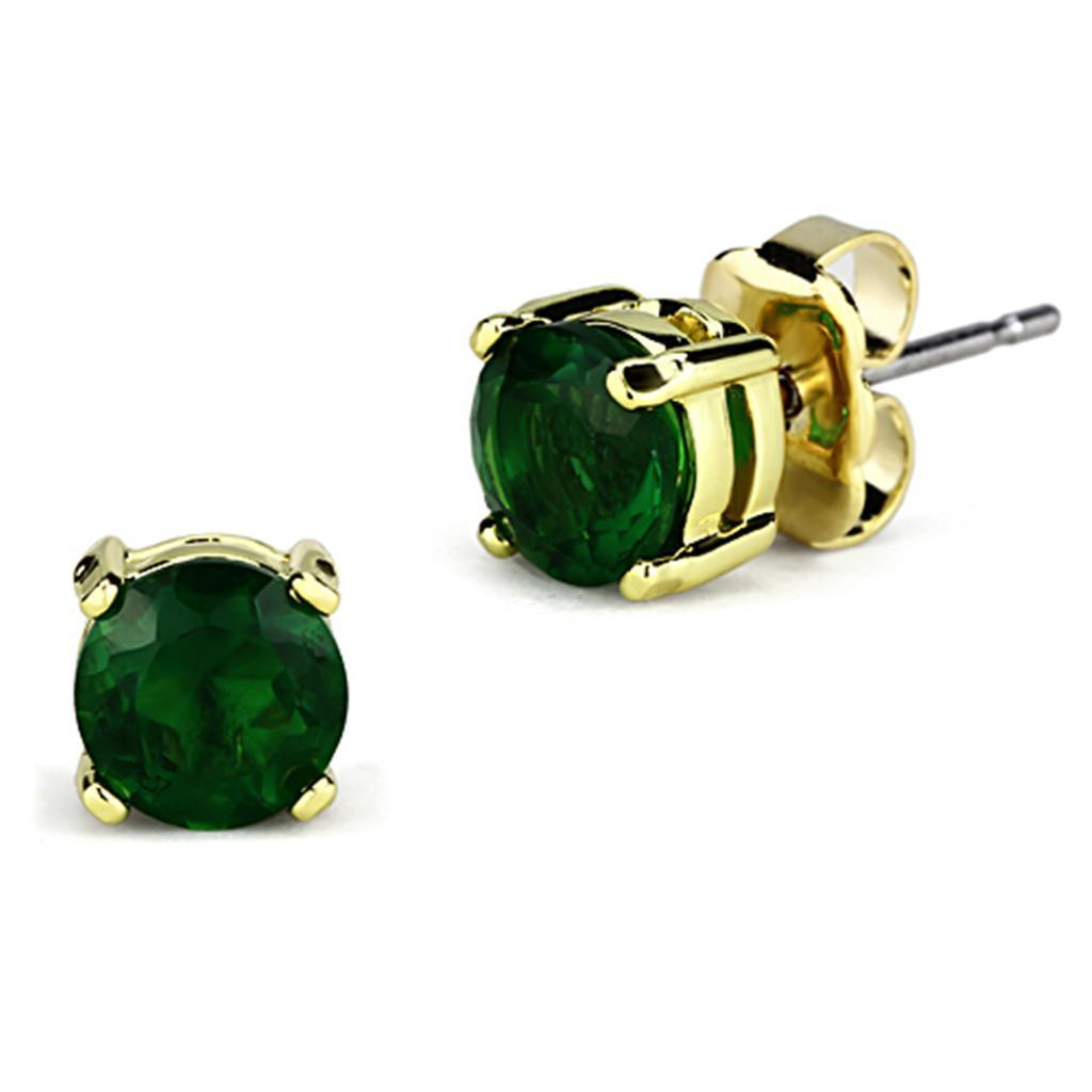 3W558 - Gold Brass Earrings with Synthetic Synthetic Glass in Emerald