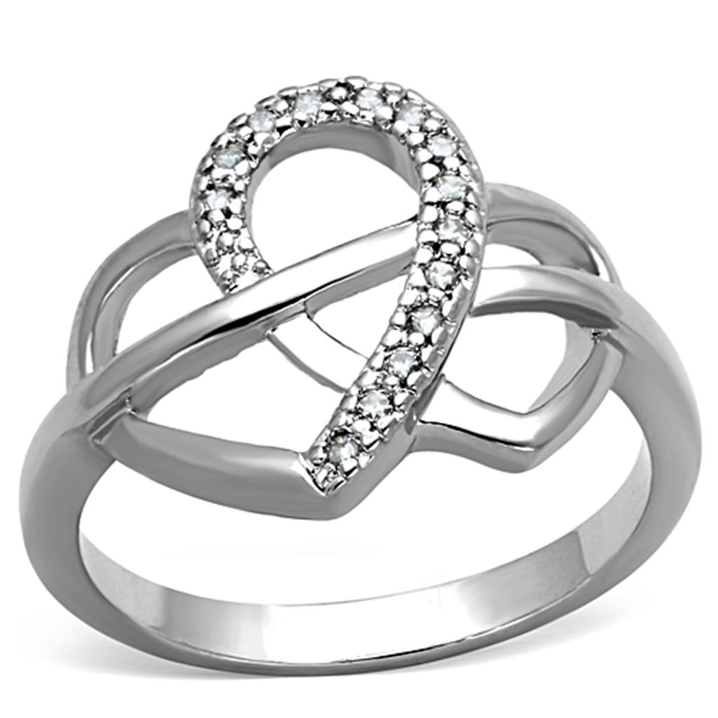 3W569 - Rhodium Brass Ring with AAA Grade CZ  in Clear