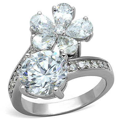 3W576 - Rhodium Brass Ring with AAA Grade CZ  in Clear