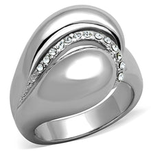 Load image into Gallery viewer, 3W586 - Rhodium Brass Ring with Top Grade Crystal  in Clear