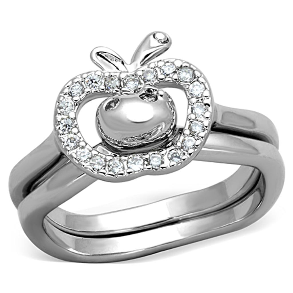 3W594 - Rhodium Brass Ring with AAA Grade CZ  in Clear