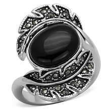 Load image into Gallery viewer, 3W597 - Rhodium Brass Ring with Synthetic Onyx in Jet