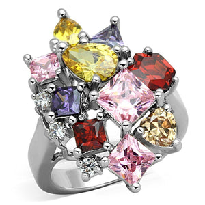 3W599 - Rhodium Brass Ring with AAA Grade CZ  in Multi Color