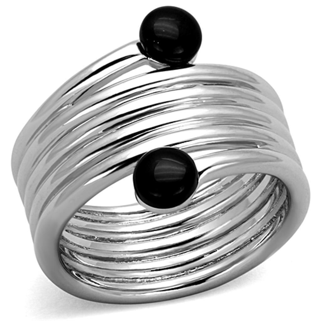 3W602 - Rhodium Brass Ring with Synthetic Onyx in Jet