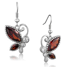 Load image into Gallery viewer, 3W613 - Rhodium Brass Earrings with AAA Grade CZ  in Garnet