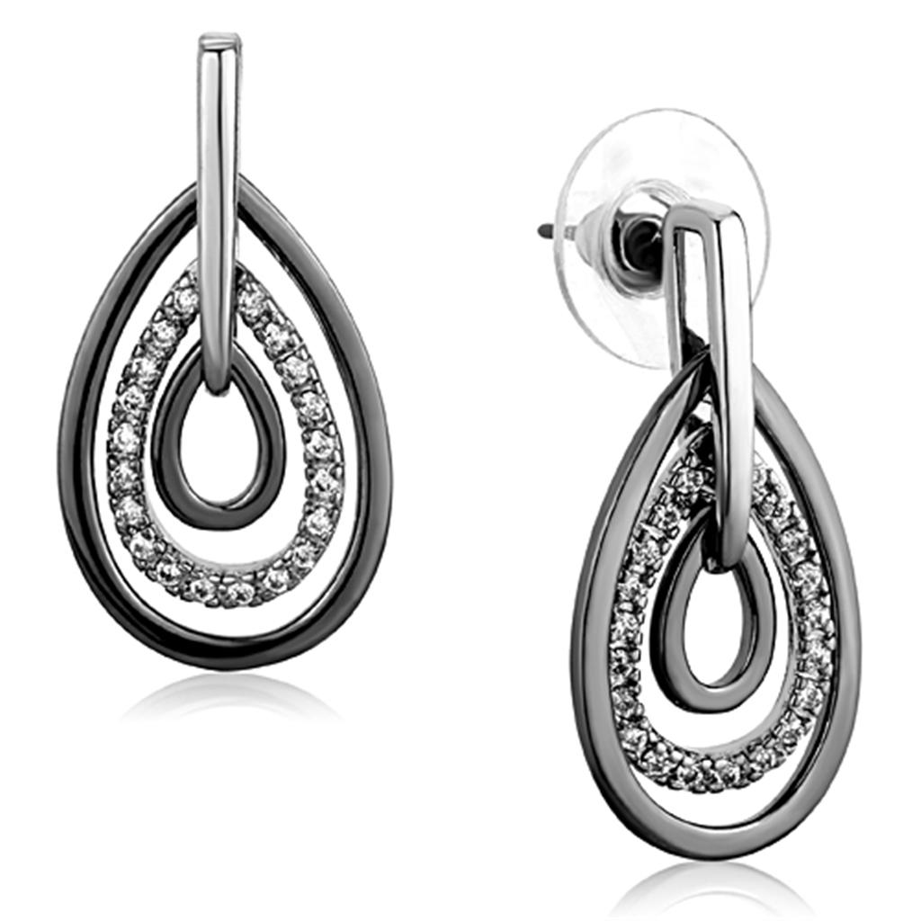 3W616 - Rhodium + Ruthenium Brass Earrings with AAA Grade CZ  in Clear