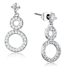 Load image into Gallery viewer, 3W639 - Rhodium Brass Earrings with AAA Grade CZ  in Clear