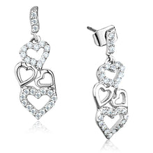Load image into Gallery viewer, 3W640 - Rhodium Brass Earrings with AAA Grade CZ  in Clear