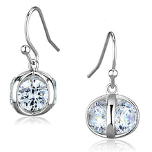 Load image into Gallery viewer, 3W644 - Rhodium Brass Earrings with AAA Grade CZ  in Clear