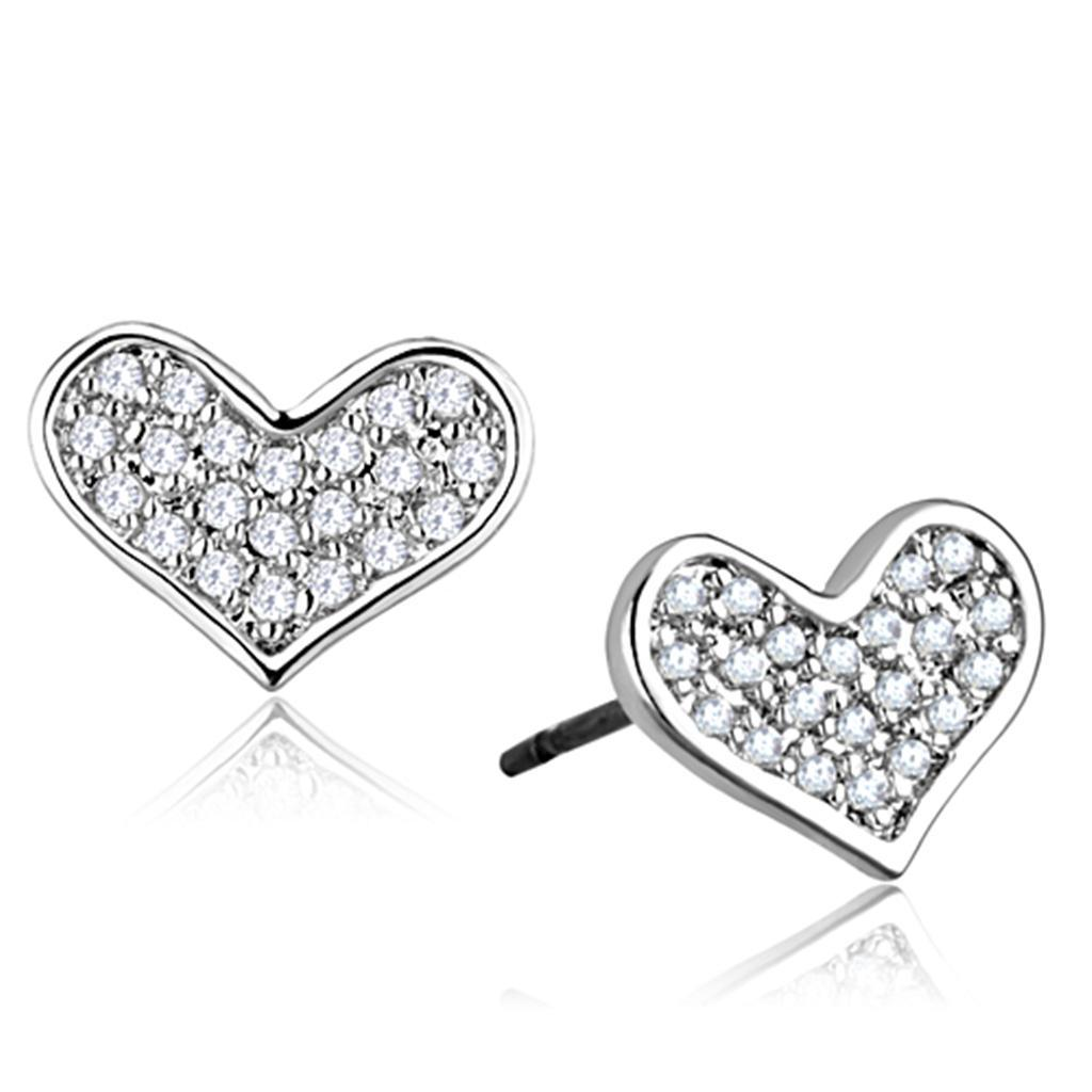 3W645 - Rhodium Brass Earrings with AAA Grade CZ  in Clear