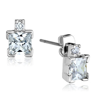 3W654 - Rhodium Brass Earrings with AAA Grade CZ  in Clear