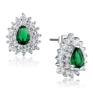 3W656 Rhodium Brass Earrings with Synthetic in Emerald