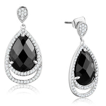 Load image into Gallery viewer, 3W658 - Rhodium Brass Earrings with AAA Grade CZ  in Jet
