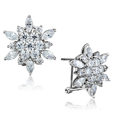 3W661 - Rhodium Brass Earrings with AAA Grade CZ  in Clear