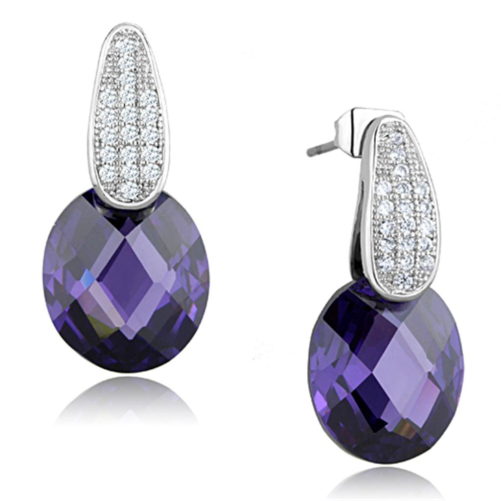 3W667 - Rhodium Brass Earrings with AAA Grade CZ  in Amethyst