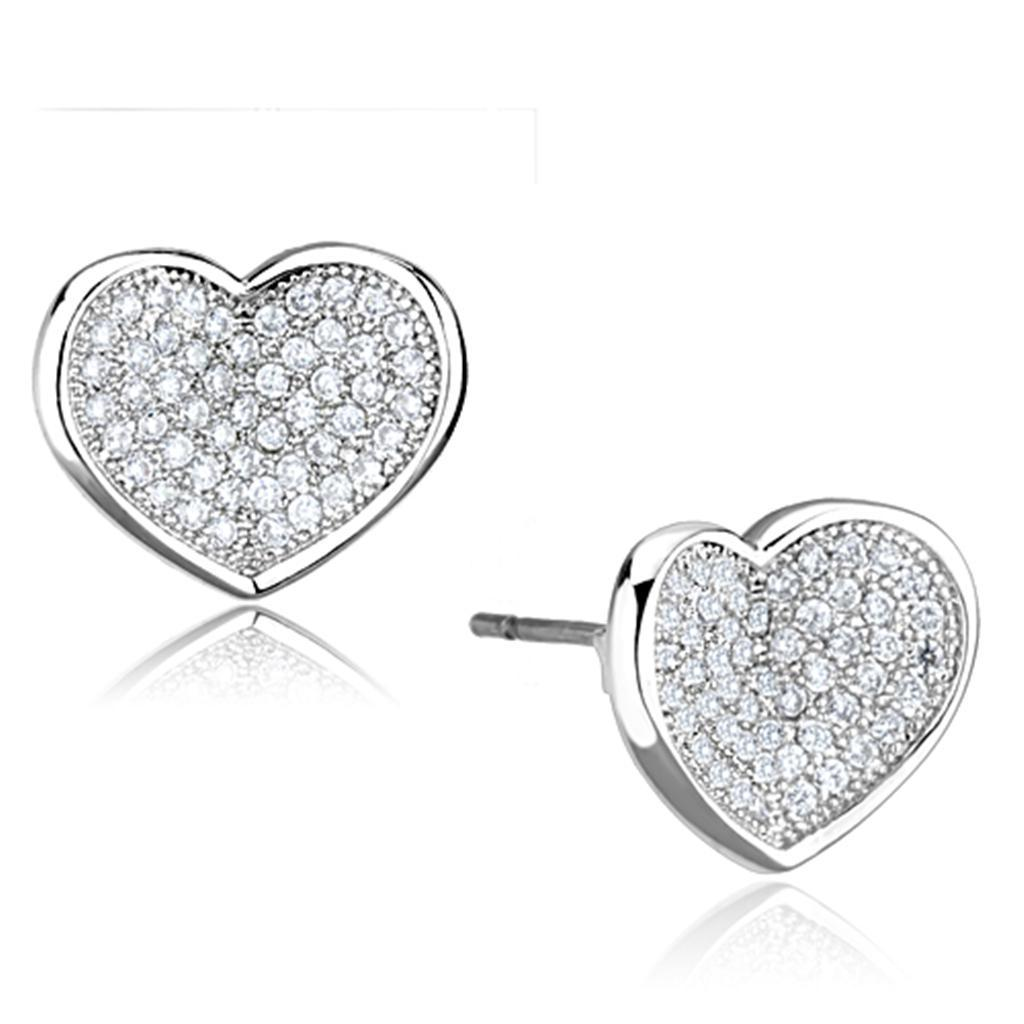 3W668 - Rhodium Brass Earrings with AAA Grade CZ  in Clear