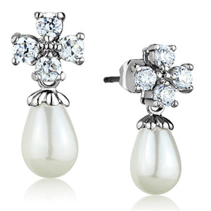 3W672 - Rhodium Brass Earrings with Synthetic Pearl in White