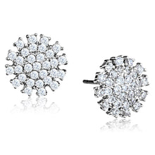 Load image into Gallery viewer, 3W694 - Rhodium Brass Earrings with AAA Grade CZ  in Clear