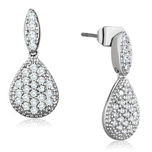 Load image into Gallery viewer, 3W696 - Rhodium Brass Earrings with AAA Grade CZ  in Clear