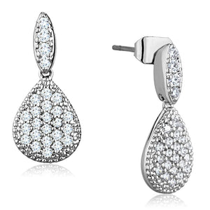 3W696 - Rhodium Brass Earrings with AAA Grade CZ  in Clear