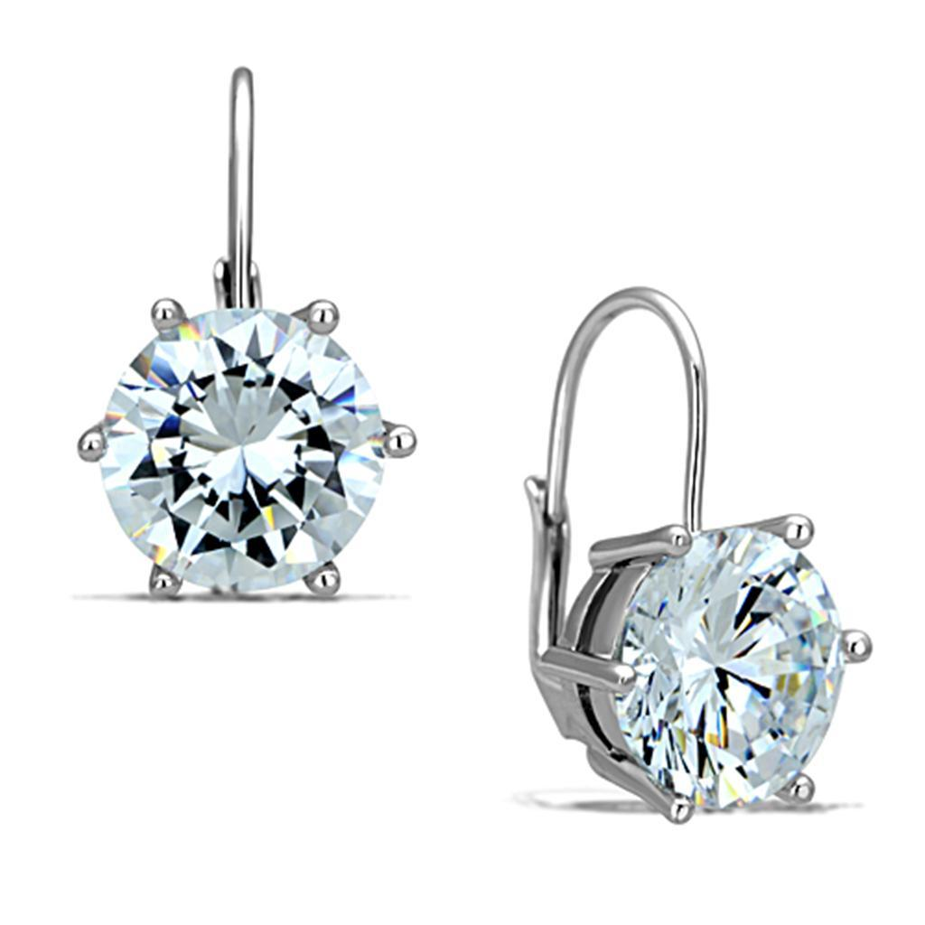 3W701 - Rhodium Brass Earrings with AAA Grade CZ  in Clear