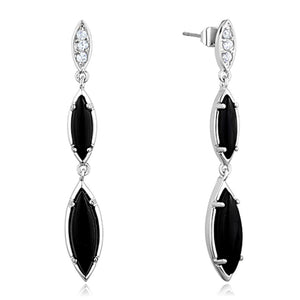 3W702 - Rhodium Brass Earrings with Synthetic Onyx in Jet