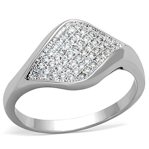 3W726 - Rhodium Brass Ring with AAA Grade CZ  in Clear