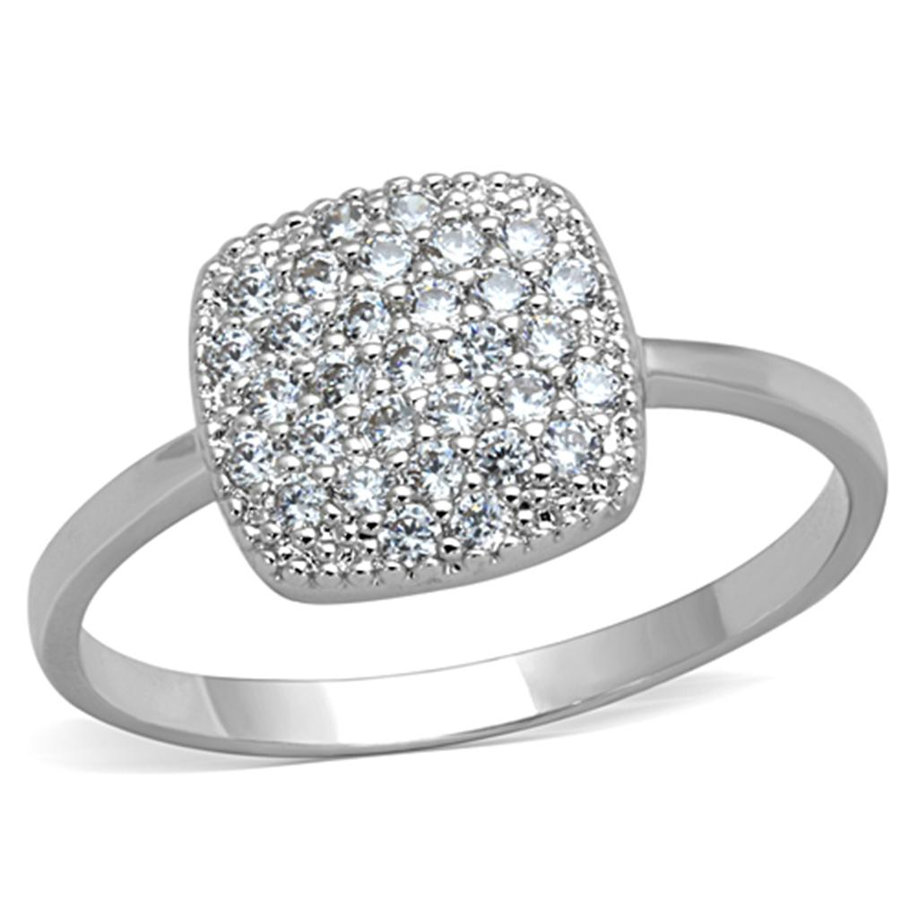 3W728 - Rhodium Brass Ring with AAA Grade CZ  in Clear