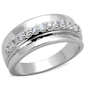 3W748 - Rhodium Brass Ring with AAA Grade CZ  in Clear