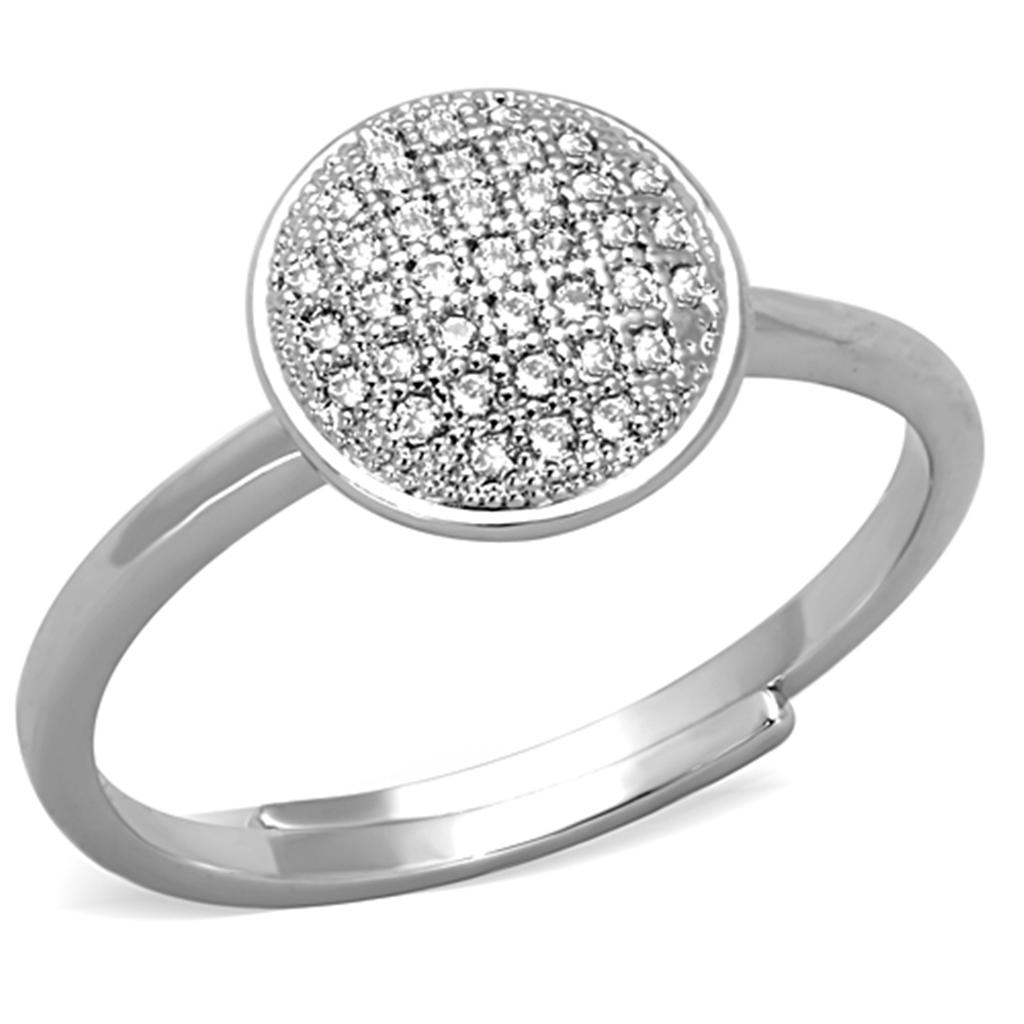 3W749 - Rhodium Brass Ring with AAA Grade CZ  in Clear