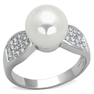 3W761 - Rhodium Brass Ring with Synthetic Pearl in White