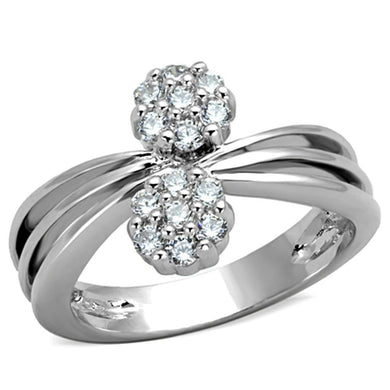 3W767 - Rhodium Brass Ring with AAA Grade CZ  in Clear