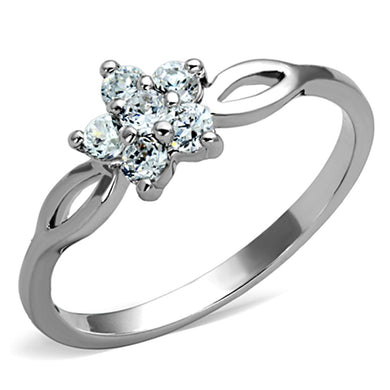 3W775 - Rhodium Brass Ring with AAA Grade CZ  in Clear