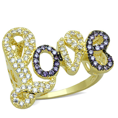 3W777 Gold+Ruthenium Brass Ring with AAA Grade CZ in Amethyst