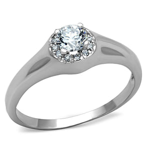 3W780 - Rhodium Brass Ring with AAA Grade CZ  in Clear