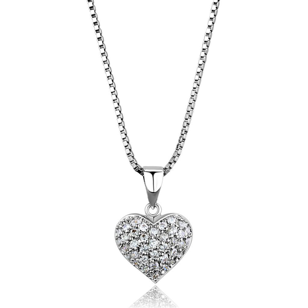 3W793 - Rhodium Brass Chain Pendant with AAA Grade CZ  in Clear