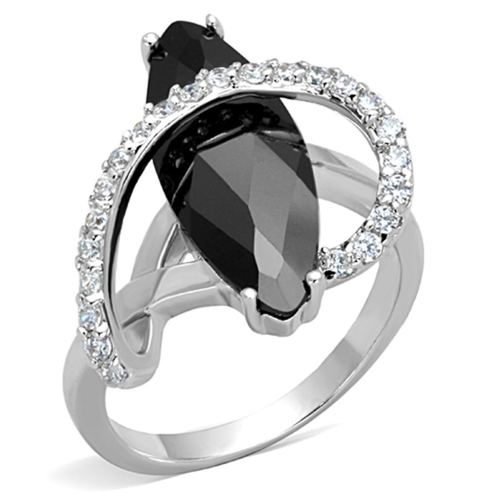 3W800 - Rhodium Brass Ring with AAA Grade CZ  in Jet