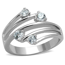 Load image into Gallery viewer, 3W813 - Rhodium Brass Ring with AAA Grade CZ  in Clear