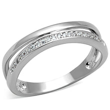 Load image into Gallery viewer, 3W829 - Rhodium Brass Ring with AAA Grade CZ  in Clear