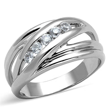Load image into Gallery viewer, 3W830 - Rhodium Brass Ring with AAA Grade CZ  in Clear