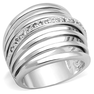 3W837 - Rhodium Brass Ring with AAA Grade CZ  in Clear