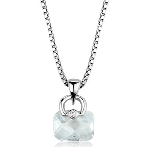 3W844 - Rhodium Brass Chain Pendant with AAA Grade CZ  in Clear