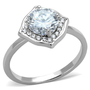 3W877 - Rhodium Brass Ring with AAA Grade CZ  in Clear