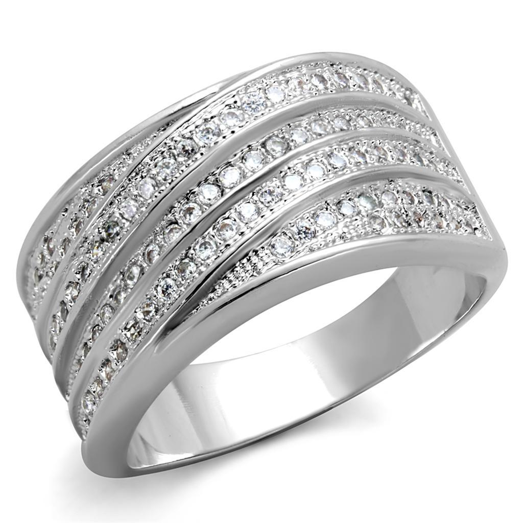 3W882 - Rhodium Brass Ring with AAA Grade CZ  in Clear